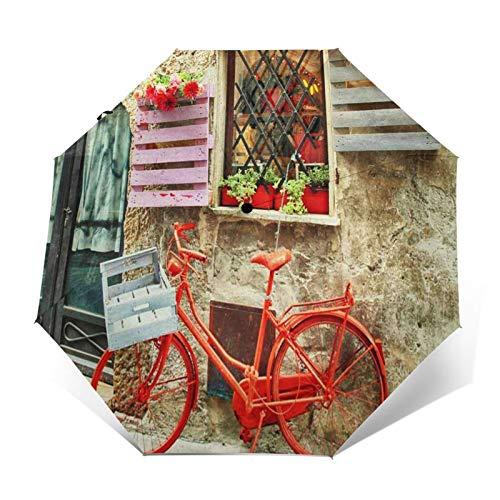 Paraguas Plegable Automático Impermeable Bicicleta Roja Bicicleta Medieval, Paraguas De Viaje Compacto a Prueba De Viento, Folding Umbrella, Dosel Reforzado, Mango Ergonómico