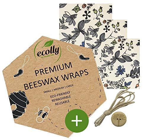 ecolly Involucri di cera d'api - Set di 3 (S, M, L), Salviette di cera d'api, Carta di cera d'api, Premium Beeswax Wraps, Plastica libera e riutilizzabile, senza olio di jojoba - Blue Flowers