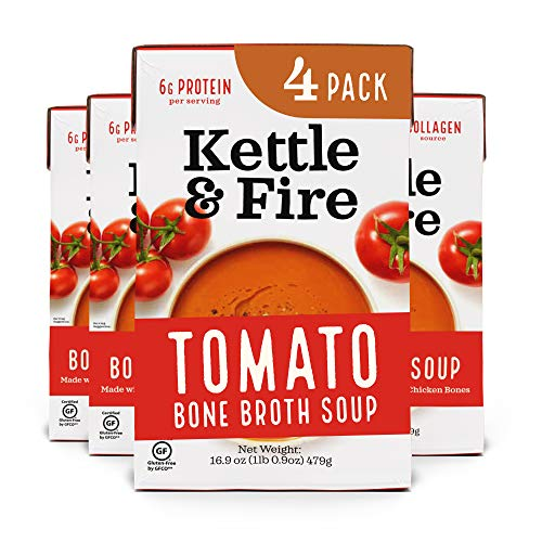 Tomato Soup with Chicken Bone Broth by Kettle and Fire, Pack of 4, Paleo, Gluten Free Collagen Soup on the Go, 9g of Protein, 16.9 fl oz