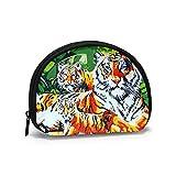 Monederos Jungles Tigers Bolsos para Monedero Niños Práctica Bolsa de Llaves Portatil Mini Cambiador Carteras para Mujeres Niñas 11.7 x 9.5 cm