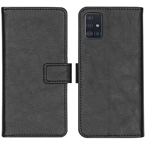 iMoshion kompatibel mit Samsung Galaxy A51 Hülle – Luxuriöse Handyhülle – Handytasche in Schwarz [Mit Ständer, Platz für 3 Karten, Magnetverschluss]