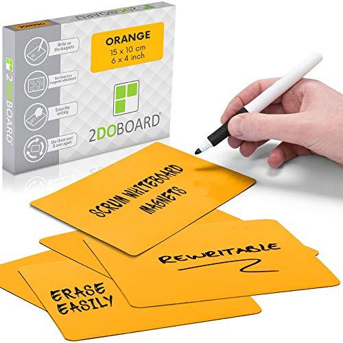 2DOBOARD Etichette Magnetiche Scrivibili - 15 x 10 cm Arancione - 25 pezzi – Scrum Cards - Kanban Board, Scrum Board o Lavagna Magnetica per Frigorifero (Arancione)