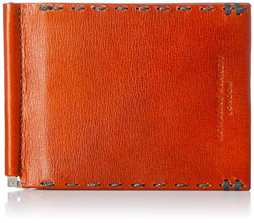 [キャサリンハムネットロンドン] 二つ折り財布 カラーテーラード2 高級国産アンティーク調キップレザー(子牛革) 使用 札ばさみ マネークリップ オレンジ