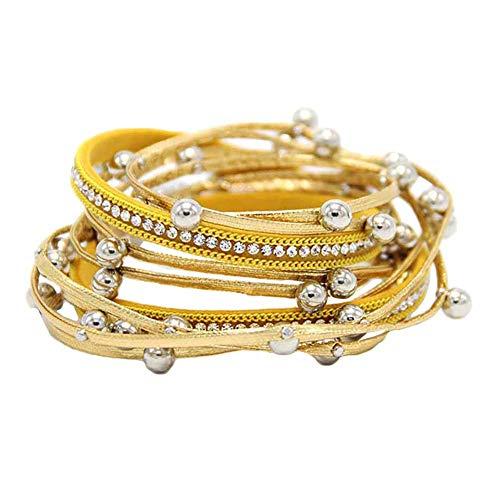 Homeofying Multi Layer Perlen Strass Kunstleder Seil Frauen Magnet Knopf Armband Wickelarmband Für Frauen Männer Golden
