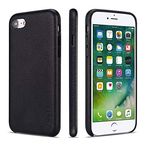 rejazz iPhone 7 Case iPhone 8 Case Anti-Scratch iPhone 7 Cover iPhone 8 Cover Genuine Leather Apple iPhone Cases for iPhone 7/8 (4.7 Inch)(Black)
