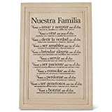 Lighthouse Christian Products Nuestra Familia (Our Family) Textured Cream 7.5 x 11.25 Cast Stone Plaque