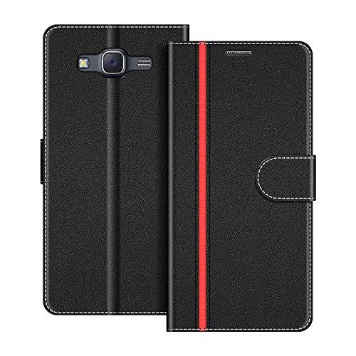 COODIO Funda Samsung Galaxy J5 2015 con Tapa, Funda Movil Samsung J5 2015, Funda Libro Galaxy J5 2015 Carcasa Magnético Funda para Samsung Galaxy J5 2015, Negro/Rojo