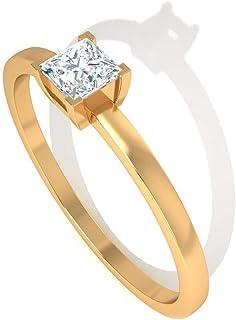 Anillo de compromiso con certificado IGI de 0,5 quilates de diamante, clásico solitario, anillo de boda, anillo de oro de diamantes de claridad de color IJ-SI, anillo de aniversario de pila