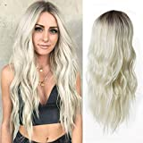 66cm Long Blonde Wig For Women, Elegant Platinum Blonde Color Ombre Hair Wig, 26-inch Of Pure Premium Synthetic Hair Long Wavy Hair WigYUNKAI (Platinum Blonde)