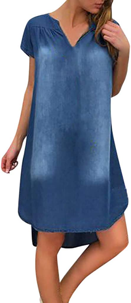 Women's Denim T-shirt Dress Summer Casual Neck V Sw Mail order cheap Ranking TOP2 Short Sleeve