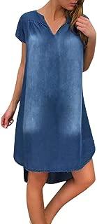 Mayunn Women's Denim Gradient V Neck Long Loose Party Dresses Short Sleeve Swing Dress