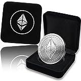 Bitcoin-Münze mit Schatulle in Gold / Silber