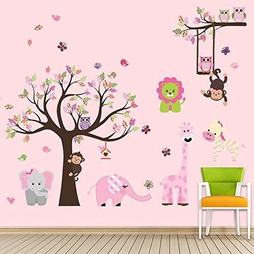 Supzone - Adhesivos decorativos para pared, diseño de árbol de la selva, color rosa