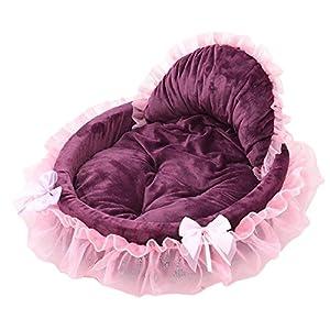 E-jiaen Tapis de lit pour chien chat chiot Cosy chenil Pad Tente Dentelle Princesse avec nœud en nid pour animal domestique pour chats, Teddy, Bichon, Chihuahua, etc.