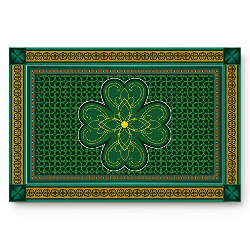 L&Z HOME Indoor Mat Soft Non-Slip Kitchen Mat Bath Rug 20 x 31.5 Inches, St. Patrick's Day Theme Retro Celtic Knots Lucky Clover Irish Decor, Entrance Welcome Doormat Floor Cover for Kitchen/Bathroom