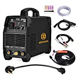 HZXVOGEN 110V/220V Tig Welder 200A Dual Voltage Arc D/C Stick MMA Inverter IGBT Digital Welding Machine - 60% Ducty Cycle High Frequency Digital Control (Model: TIG 200A)
