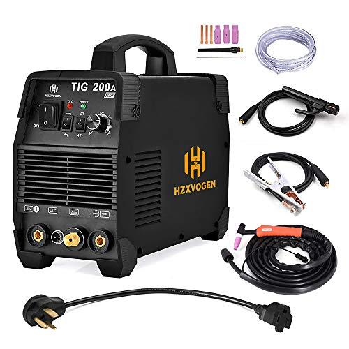 HZXVOGEN 110V/220V Tig Welder 200A Dual Voltage Arc D/C Stick MMA Inverter IGBT Digital Welding Machine - 60% Ducty Cycle High Frequency Digital Control (Model: TIG 200A)