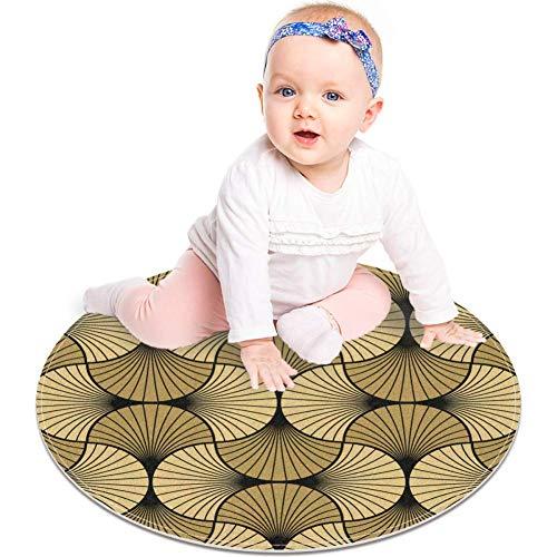Bennigiry Art Deco Shell Gold Schwarz Rund Bereich Teppiche Bodenmatten Weicher Teppich Kinder Studie Spielzimmer Kinderzimmer Teppich 60 cm