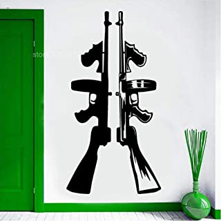 Wall Sticker Cool Home Decor Vinyl Wall Sticker Tommy Gun Machine Automatic Wall Decals Self Adhesive Removable Room Decoration Mural 42x81cm