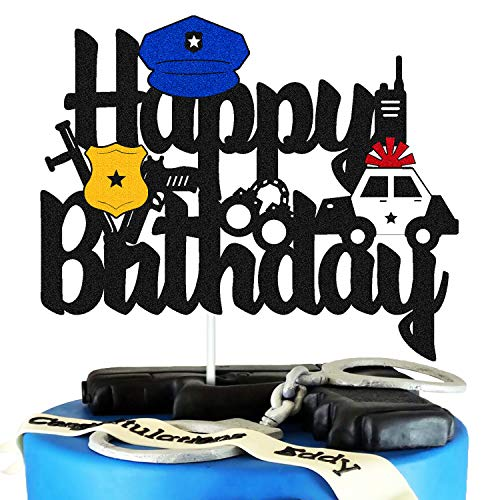 Police Birthday Cake Topper Policeman Officer Police Car Themed for Kids Boy Girl Man Happy Birthday Retirement Party Supplies Black Glitter Decorations