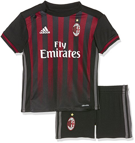 adidas Baby Trainingsanzug AC Mailand Mini-Heimausrüstung, Black/Vicred/Granit, 74