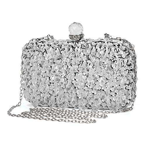 UBORSE Abendtasche Damen Diamant Clutch Bag Kette Shiny Strass Handtasche Umhängetasche für Hochzeit Party - Silber(Runder Diamantkopf)