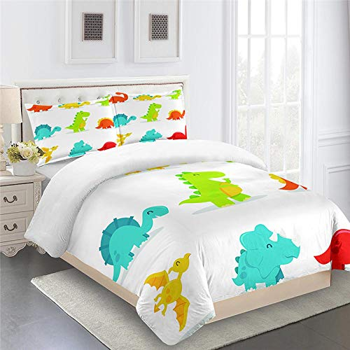 CHNXXL Duvet Cover Set King Size 220X260Cm Bed With Pillowcases Quilt Bedding Set Printed Cartoon Dinosaur For Children And Youth Microfiber Polyester Soft And Breathable
