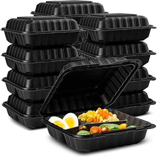 """Eco-Friendly Meal Prep Containers 3 Compartment [50-Pack 8x8x3""""] Disposable to go Clamshell Food Containers Secure Snap Hinged Lid, Microwave Safe Take Out Lunch Boxes, Made from Renewable Materials"""