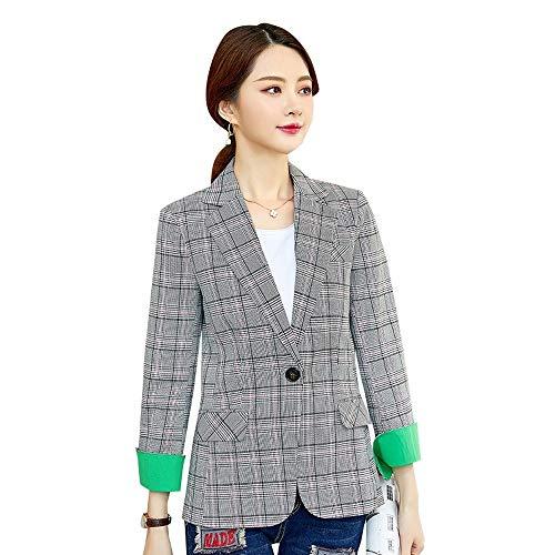 QXPORV Womens Plaid Blazer Bena Dan Moog hit dobbelstenen pak los knop werk kantoor vrouwelijke toevallige kleine pak shirt