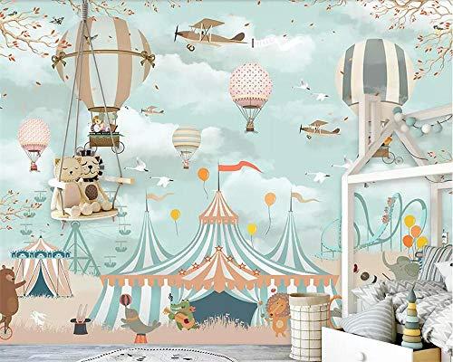 Grote 3d behang cartoon luchtballon vliegtuig dier puppy circus speeltuin achtergrond muur 3d behang muurschildering-300 * 210cm