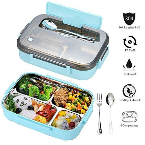 Aenamer® Lunchbox, Edelstahl Brotdose Auslaufsicher Bento Box aus Edelstahl mit 4 Festen Fächern, Spülmaschinenfest Brotdose mit Löffel und Gabel für Kinder Erwachsene, BPA Frei