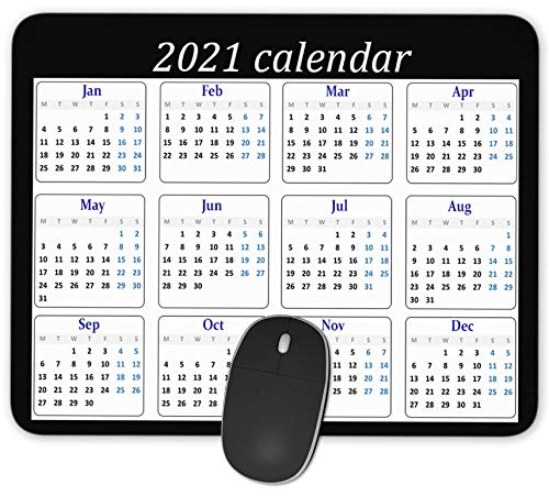 QJ CMJ 2021 Year Calendar Rectangle Mousepad Gaming Mouse Pad Rubber Oblong Mouse Mat(9.5inchx7.9inch)