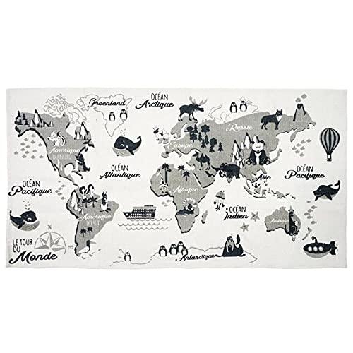 Tapis Mappemonde 140X70cm Deco Textile d