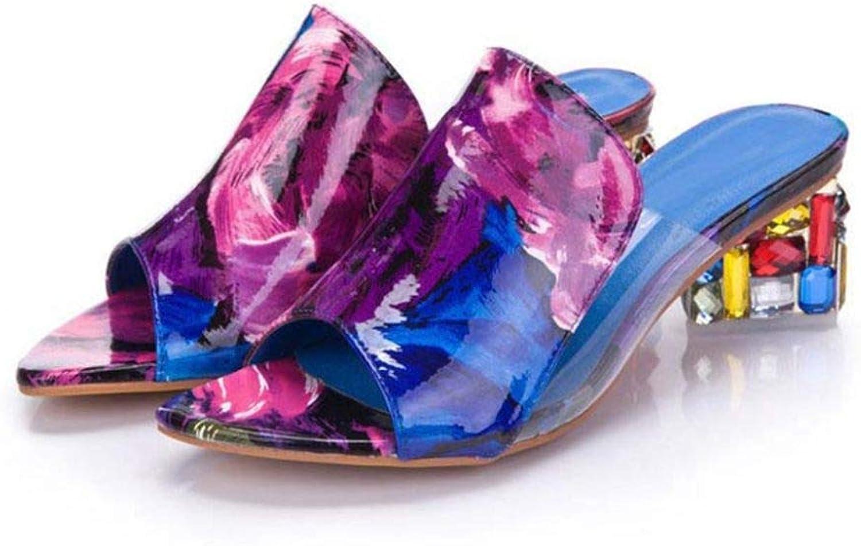 Btrada Women Chunky High Heel Sandals colorful Rhinestone Summer Open Toe Fish Mouth Ladies Slippers
