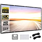 Projector Screen 120 inch 16:9 HD Foldable Anti-Crease Portable Projection Movies Screen for Home...