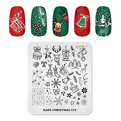 KADS CH019 - Timbro natalizio con immagine e decorazione per unghie, strumento per la decorazione delle unghie, motivo: campana di alce e fiocchi di neve