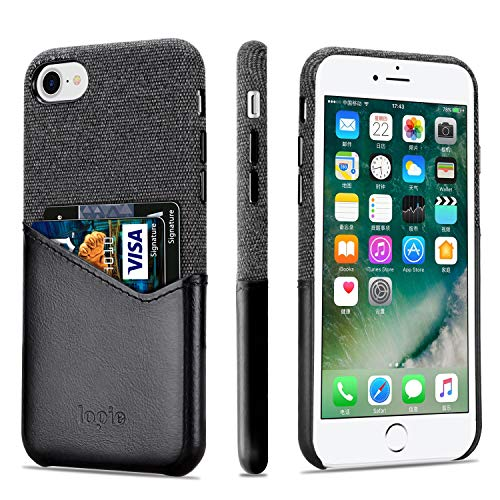 Lopie [Sea Island Cotton Series] Slim Card Case Compatible for iPhone 7 and iPhone 8, Fabric Protection Cover with Leather Card Holder Slot Design, Black
