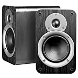 Nero Studio5 Dynamic Power Handling 100W Hi-Fi 5.25' Bookshelf Speakers, Black Wood Grain Design, Pair