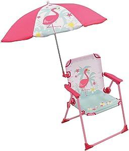FUN HOUSE 713089 Flamant Rose Chaise Pliante avec Parasol pour Enfant