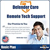 Defender Care Remote Tech Support Repair for PC and Mac, USA Based Certified Techs, 24 Hour Completion, Basic Maintenance Plan, 90 Day Warranty