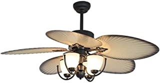 XYJGWXDD New Chinese-Style Retro Electric Fan Light European and American Japanese Restaurant Southeast Asian Style Ceiling Fan Light 5 Plastic Fan Leaf Ceiling Fan with Light for Home