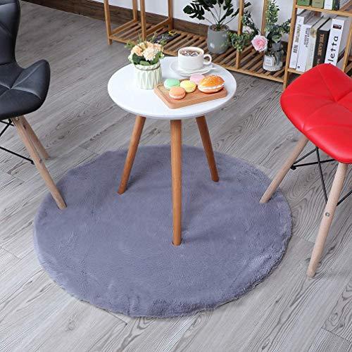 HEQUN Weicher Kunstkaninchenfell-Teppich|Kurzfell-Teppich Kunstfell Hasenfell Imitat | Lammfell-Teppich | Kunstfell Schaffell Imitat | Faux Bett-Vorleger oder Matte für Stuhl Sofa (Grau, 60 x 60 cm)