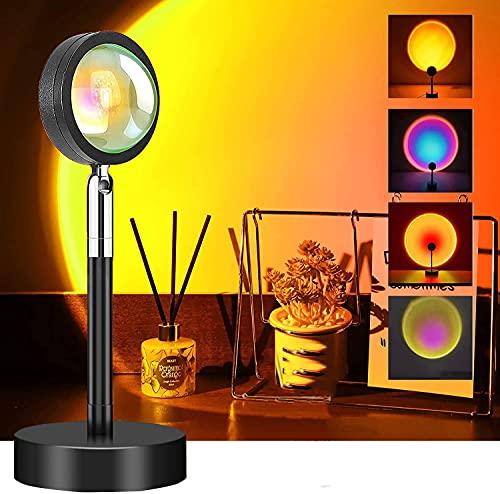 Sunset Lamp, Sunset Projection Lamp, RGB Projection Lamp Light, Sunset Lamp Light, Arco Iris Lamp Lámpara de pie con red USB, luz roja decoración, control por aplicación, 16 colores