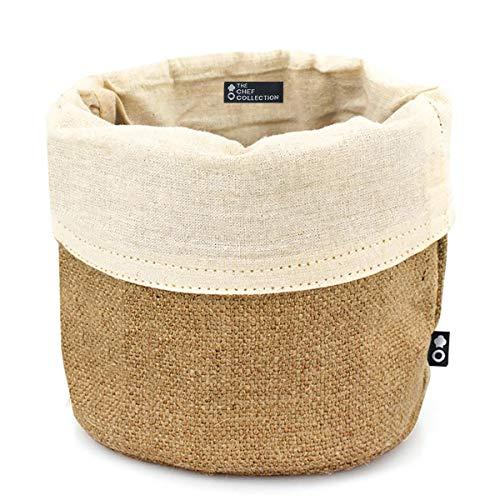 THE CHEF COLLECTION – Portapane, cestino per il pane, sacchetto del pane, 100% cotone e iuta naturale, 14x14 cm