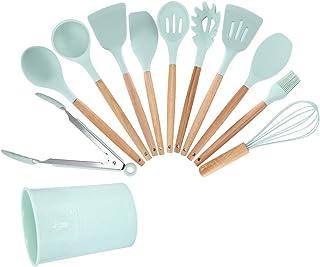 DEWIN Ustensiles De Cuisine - Couteaux Et Ustensiles de Cuisine Ustensiles de cuisine en silicone vert clair Ustensiles de...