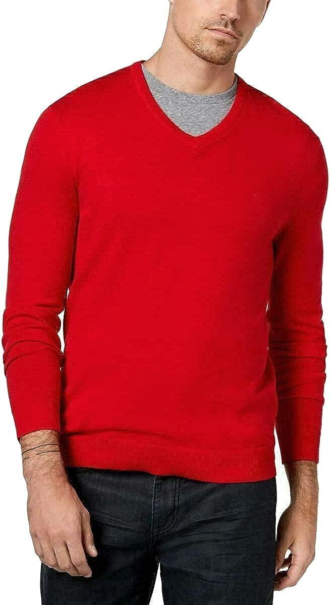 Alfani Mens Sweater Jester Large V-Neck Solid Knit Pullover Red L