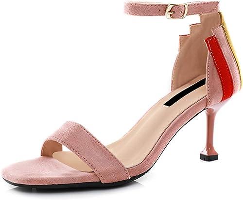Sandales d'été pour pour Femmes Talons Hauts Chaussures Romaines pour Femmes Chaussures en Cuir pour Femmes (Couleur   noir, Taille   38)  grande vente