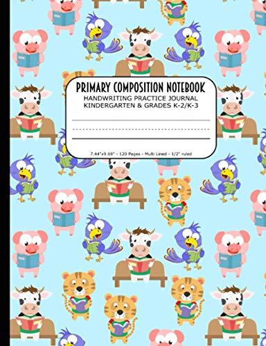 Primary Composition Notebook | Handwriting Practice Journal Kindergarten & Grades K-2/K-3: Handwriting Practice Paper with 3 Lines (Dotted Midline) | ... | Adorable Pig Bird Tiger Cow Readers Cover