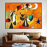 Joan Miro Famoso Surrealismo Abstracto ReproduccióN De Pintura PóSter E Impresiones Cuadro De Arte De Pared Vintage Para DecoracióN De Sala De Estar 60x100cm (24x40') Sin Marco