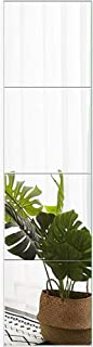 FANYUSHOW Explosion-Proof Full Length High Mirror Tile-16 Inch x 4Pcs Frameless Wall..